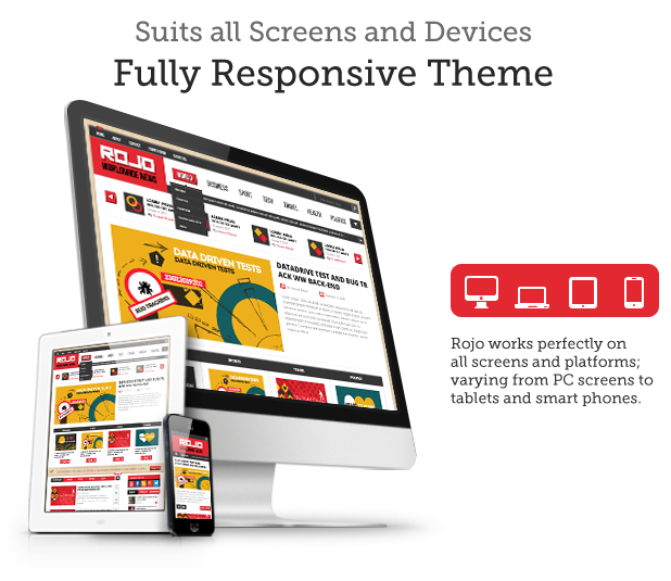 Rojo Responsive WordPress Magazine, Blog Theme