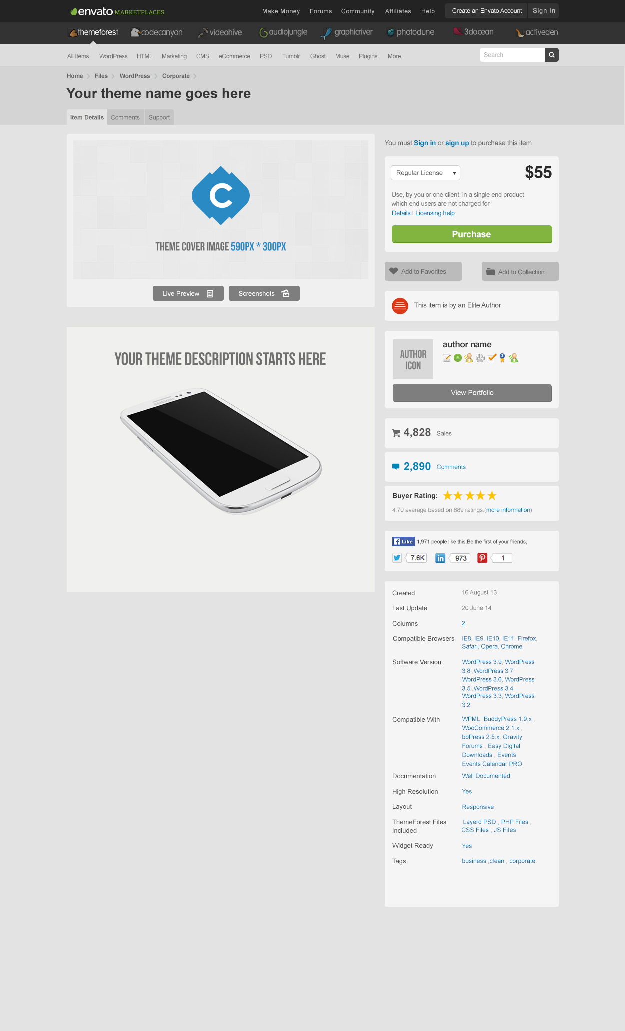 Themeforest Theme Page Template