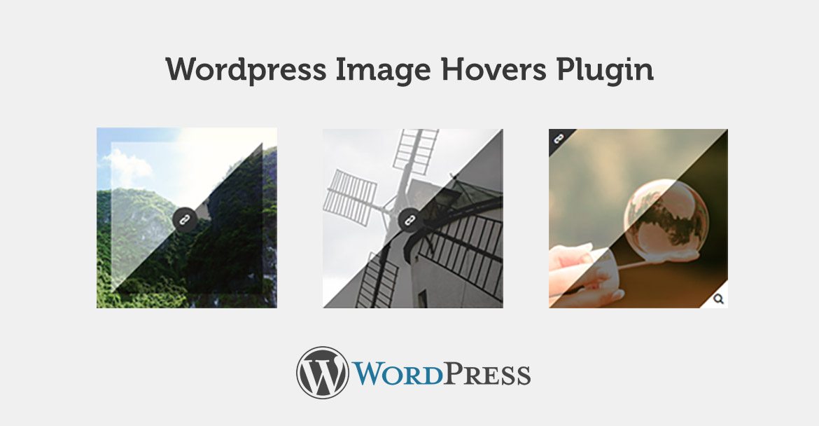3 images showing the different hovers offered in this free plugin and the WordPress logo