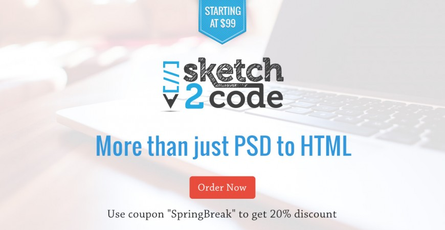 Sketch2Code logo with the slogan 'More than Just PSD to HTML'