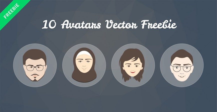 a sample of 4 of the Free avatar vectors showing human faces with hair and accessories