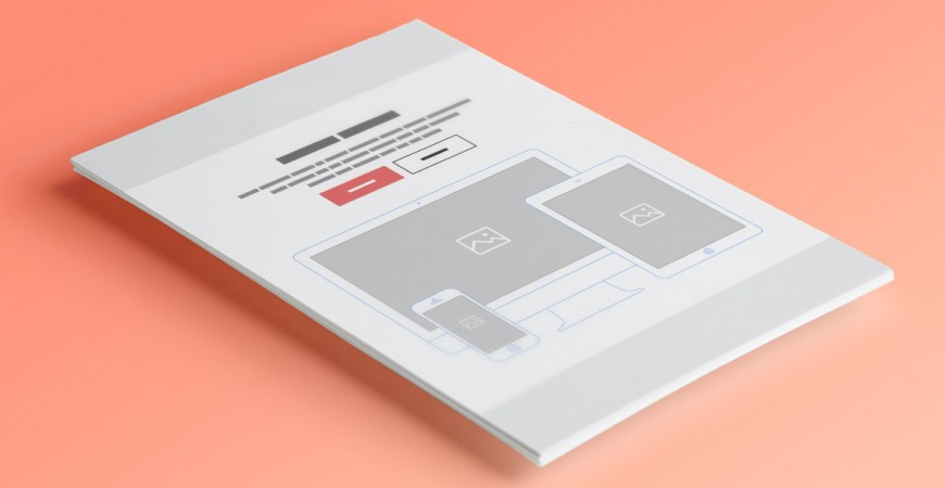 A mock-up for a website on paper
