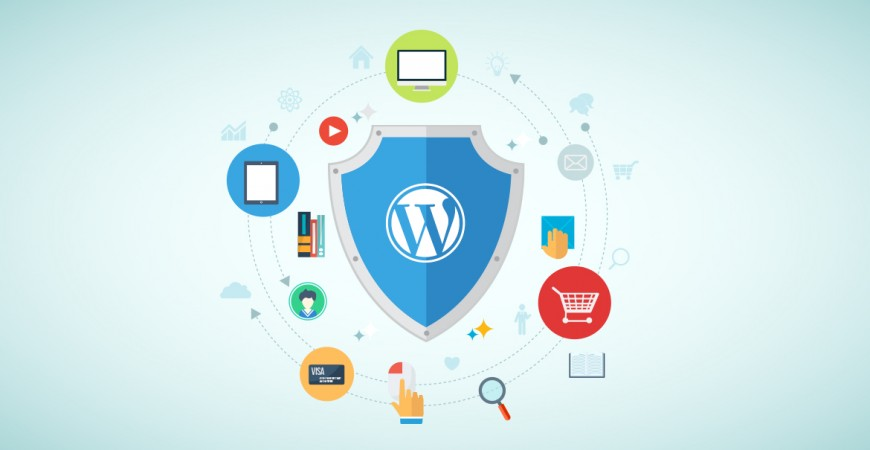 WordPress logo in a shield and security icons