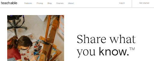 teachable's website header image