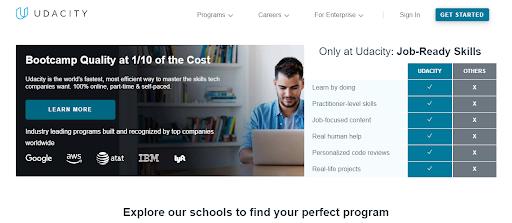 udacity's website header image